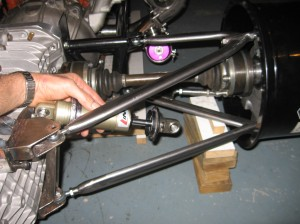 The first attempted location for the rear shock mounting