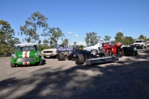 A cross-section of vehicles that will be entered at Mt Cootha Hillclimb 2010.
